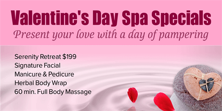 Valentine's Day Spa Specials Business Card: 812-1