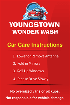 Car Wash Instructions Banner: 1410-1