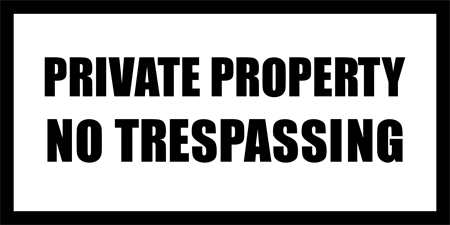 Private Property No Trespassing Window Decal: 1668-1