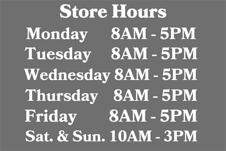 Store Hours Lettering: 2756-1