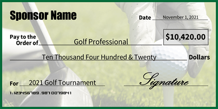 Golf tournament winner check signazon for Oversized check template