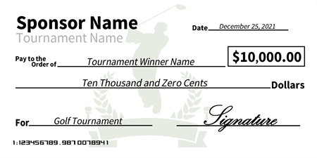 Charity golf tournament award check signazon for Oversized check template