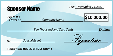 Blue and white presentation check signazon for Oversized check template