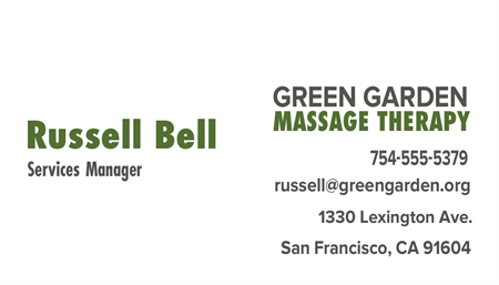 Massage Therapy Business Card: 1012-9