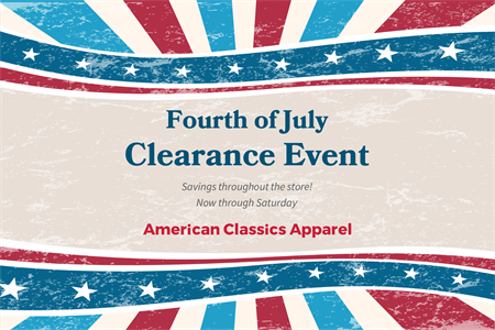 Fourth of July Clearance Window Decal: 1498-4