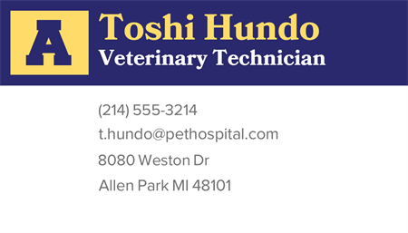 Pet Hospital Business Card: 3392-9