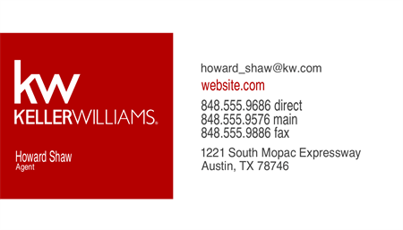 Keller Williams Realtor Open House Business Card: 728-9