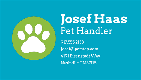 Pet Stop Boarding Business Card: 3400-8
