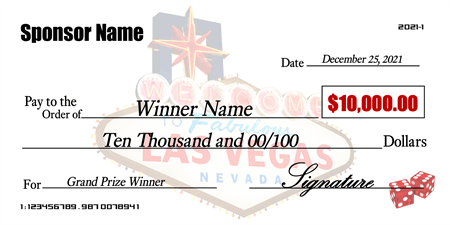 Las vegas dice check signazon for Oversized check template