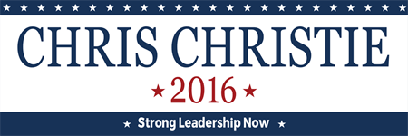 Chris Christie Candidate Bumper Sticker: 3513-5