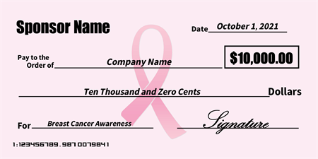 Breast cancer sponsorship check signazon for Oversized check template