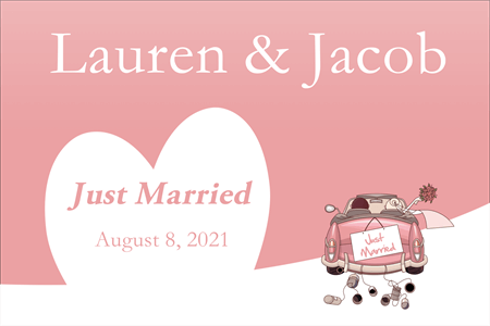Just Married Pink Postcard: 961-8